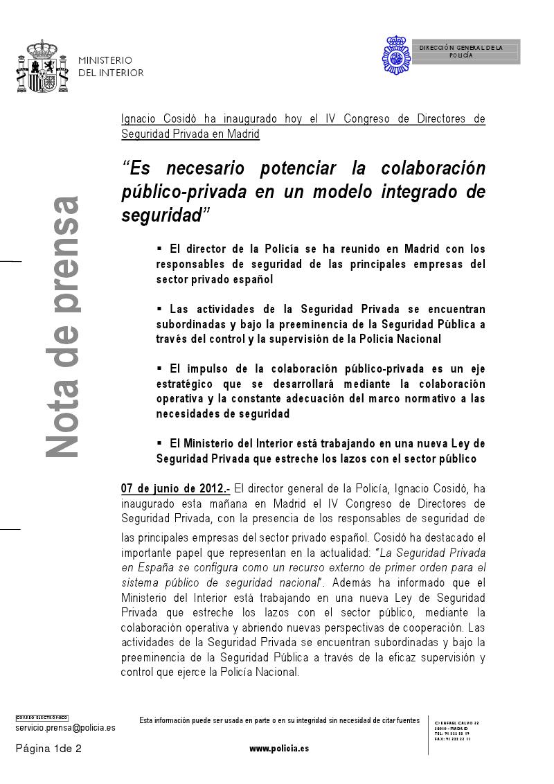 Secci n sindical securitas barcelona nota de prensa for Comunicado ministerio del interior