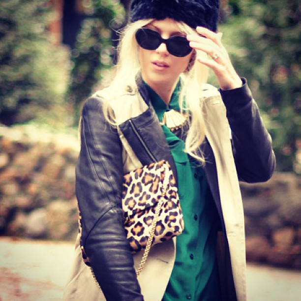 emerald green blouse, leather, trench