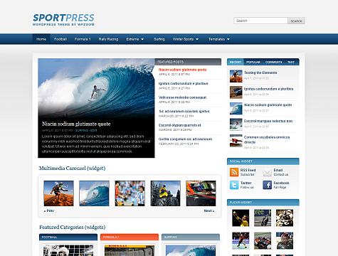 SportPress WordPress Theme Free Download by WpZoom.