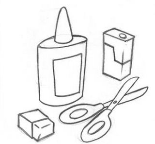 Desenho de objetos escolares para colorir