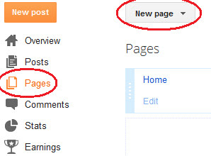 how to make new page in blogger