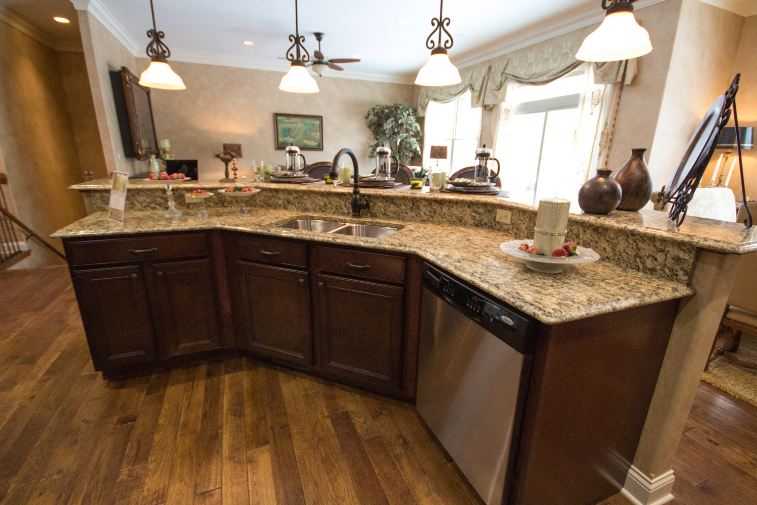 kitchen island with granite counter tops