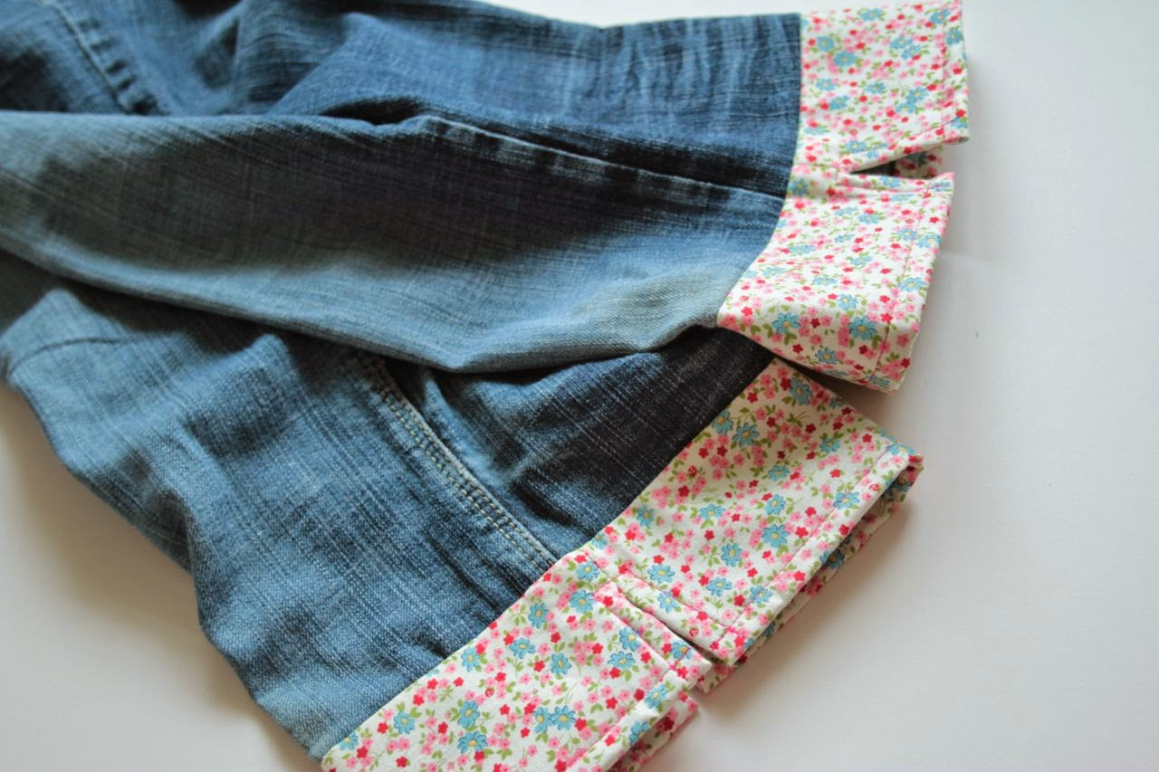 Pretty jean turn ups using floral fabric with a split in the side