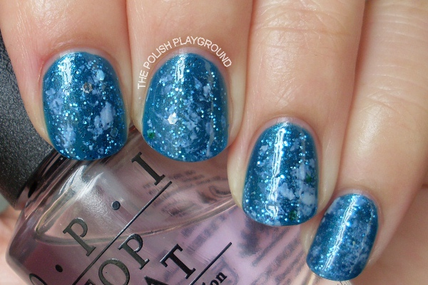 Blue Saran Wrap Nails