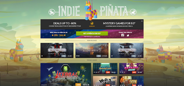 Screenshot of GOG website with Indie Piñata sale