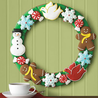 X mas wreath cookies decoration idea with Christmas snowman,ginger bird man,snowflakes and dove bird on wall photo
