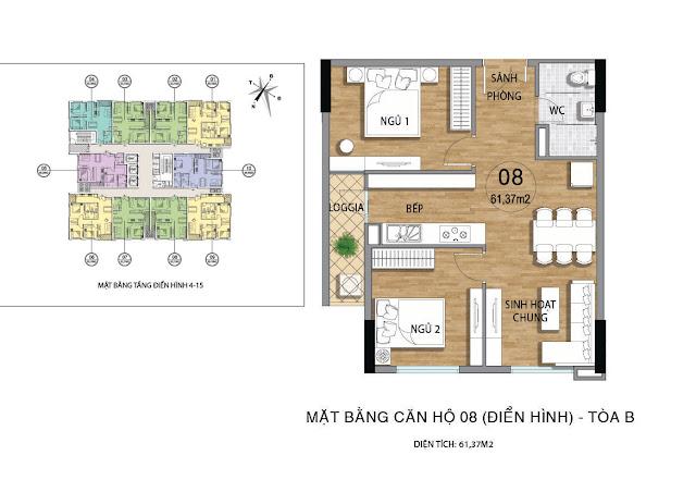 Mặt bằng căn hộ B08 tầng 4-15 dự án Valencia Garden