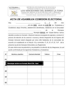 acta de asamblea de la conformación de la comisión electoral permanente del consejo comunal del barrio la toma