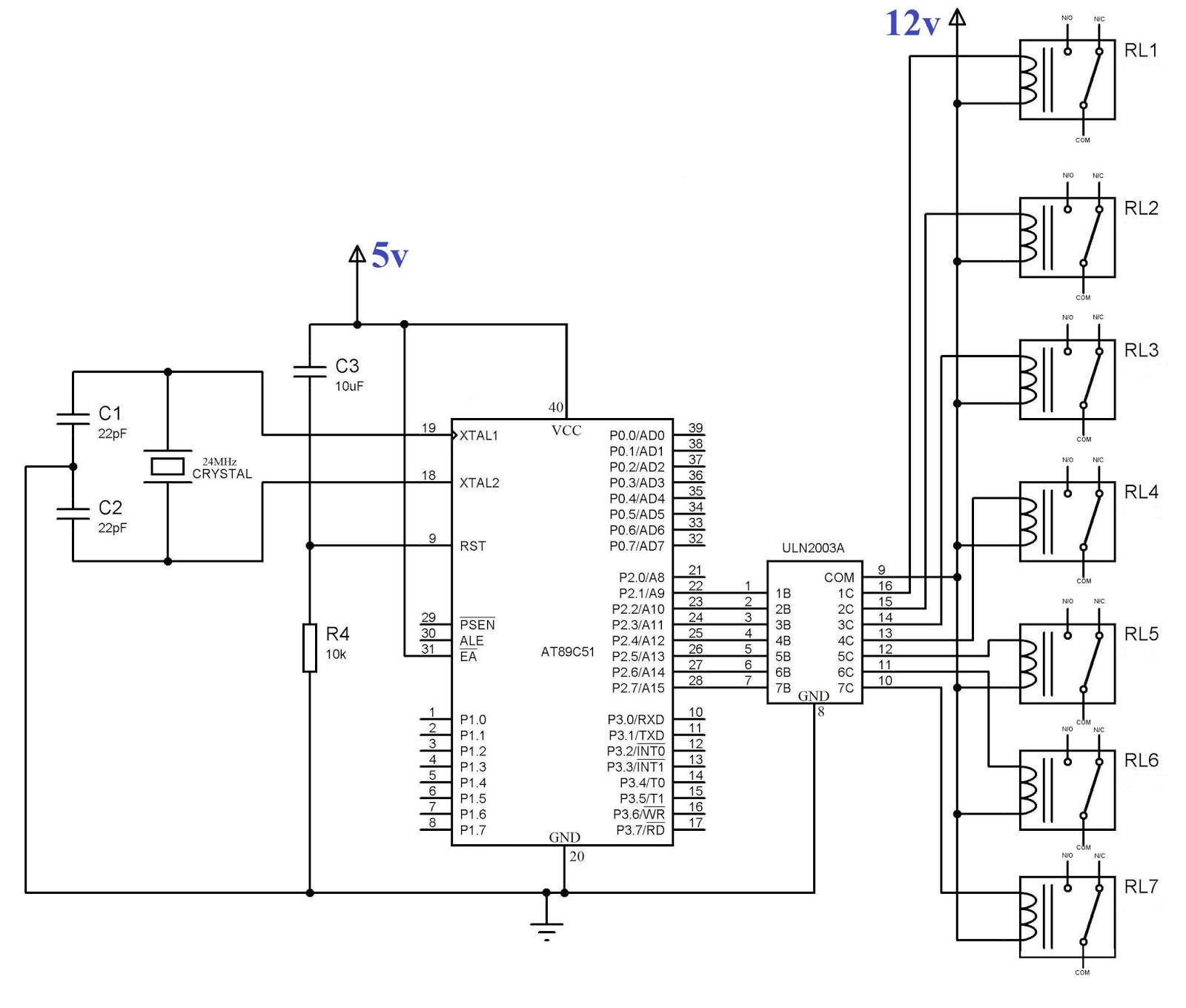8051 microcontroller  uln 2003 relay driver circuit for