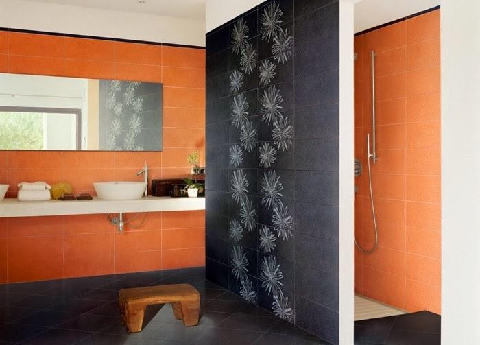 Baño Blanco Con Gris:Baños en color naranja y gris – Colores en Casa