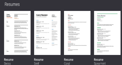 there are actually four resume templates swiss serif coral and spearmint students can use them to create professional looking resumes in a matter of a
