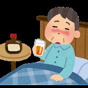 寝酒をしている人のイラスト