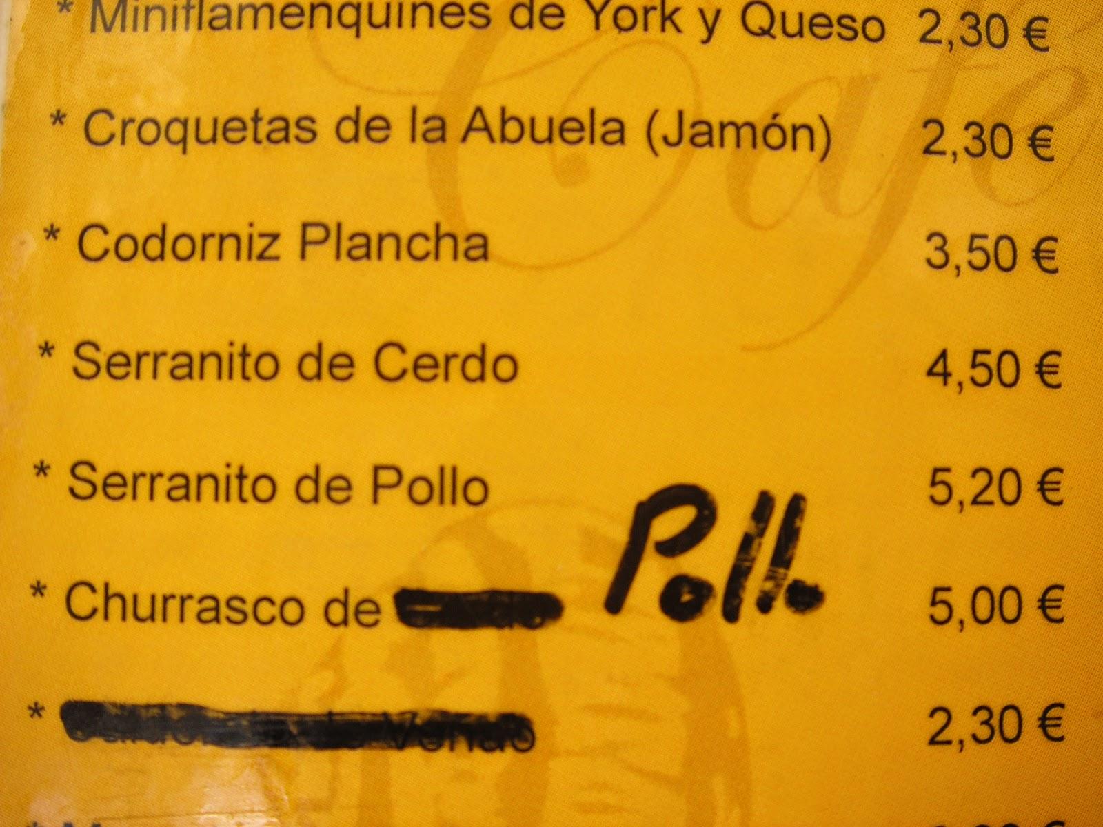 Precio - Bar Las Cabrillas - Serranito Advisor