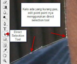 Memperbaiki seleksi dengan direct selection tool