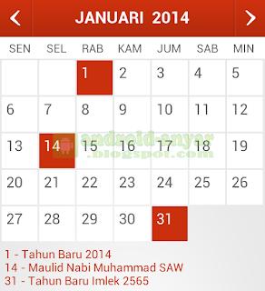 Download Kalender 2014 Dilengkapi Tanggal Merah Hari Libur .APK Android