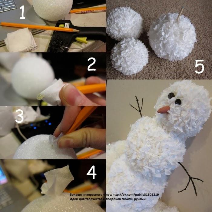 Снеговик из салфеток