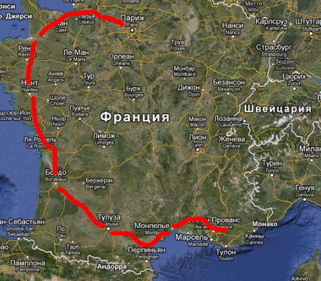 Гастрономическо-историческое большое путешествие по югу Франции Map