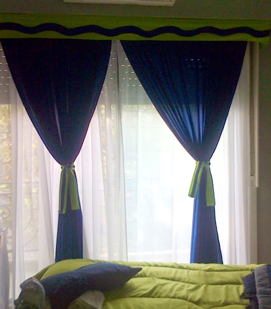 doble cortinado de tela tropical y tela voile