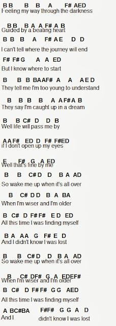 Flute sheet music wake me up
