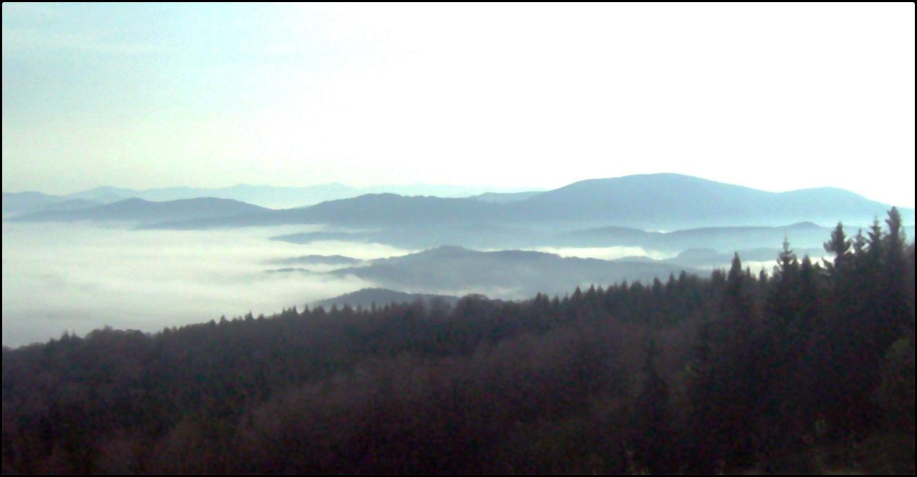 Карпатские горы в утреннем тумане, пейзаж - вид с горы Станеша