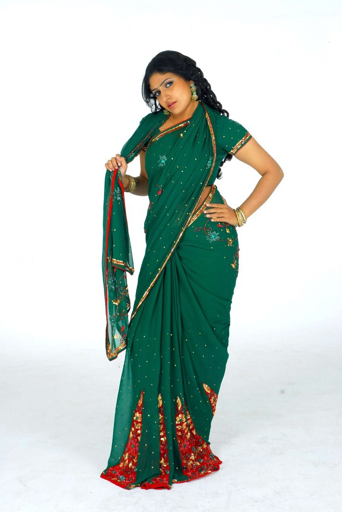 , Monica In Green Saree Photoshoot