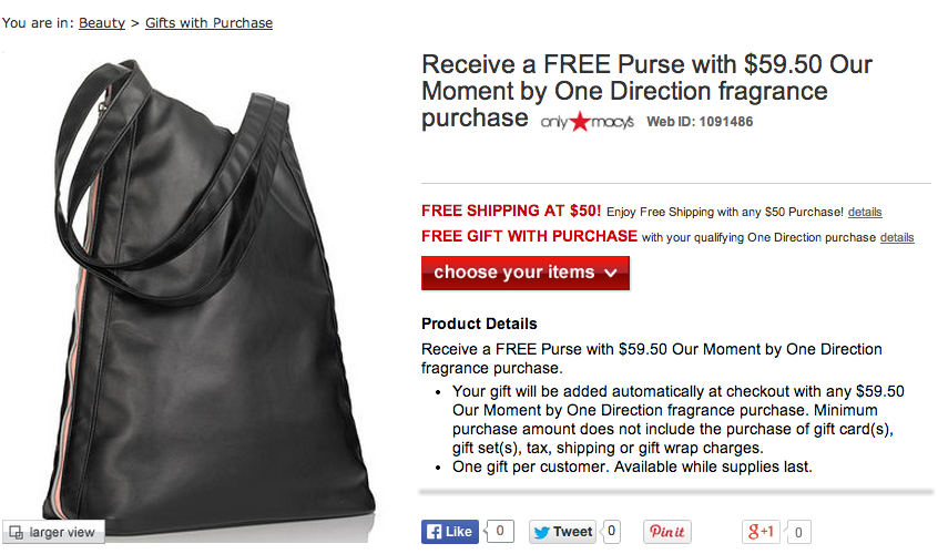 One Direction Gift with Purchase Promotion