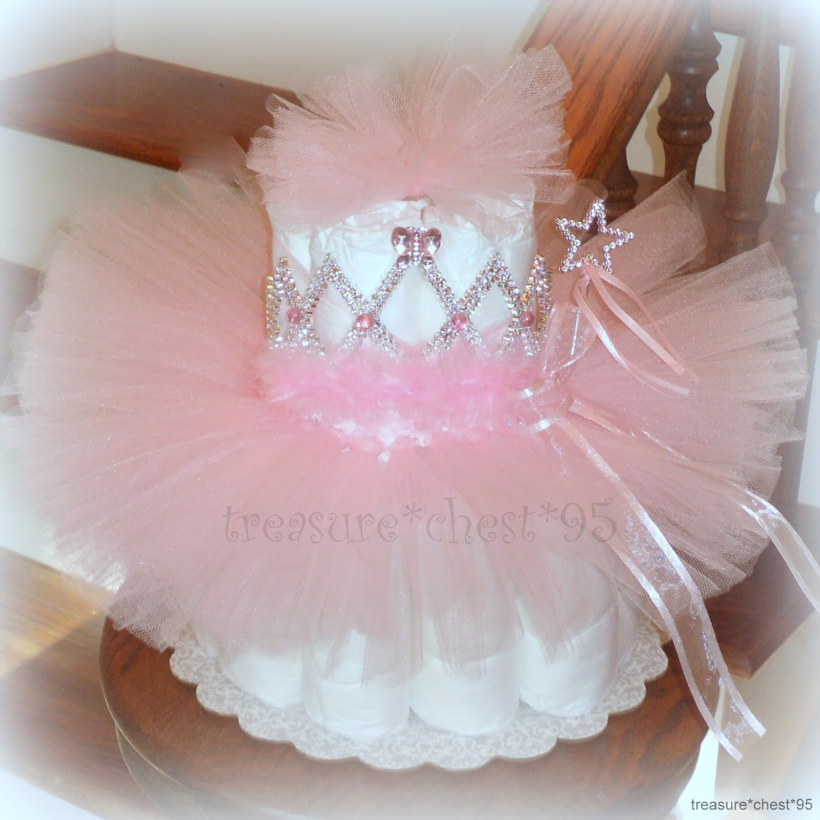 Diaper Cake Centerpiece For Baby Shower : TuTu Diaper Cake Baby Shower Centerpiece Pink Girl ...