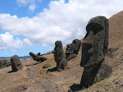 Moai Gauntlet, Rano Raraku Lower Crater (below quarry), Easter Island