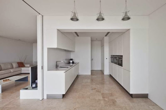 white kitchen idea Modern House with Pool in Tavira