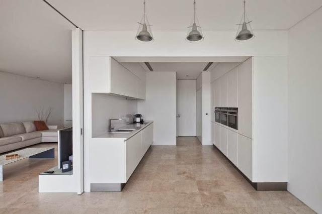 white kitchen idea Modern House with Pool in Tavira