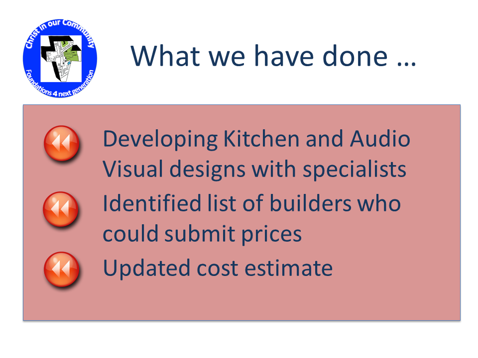 What we have done ... * Develop Kitchen and Audio Visual designs with specialists * Identified list of builders who could submit prices * Updated cost estimate