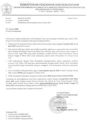 Surat Kepala Pusat Pengembangan Profesi Pendidik atas nama Kepala Badan pengembangan Sumber Daya Manusia Pendidikan dan Kebudayaan Penjaminan Mutu Pendidikan (BPSDMPK dan PMP) Kementerian Pendidikan dan Kebudayaan Nomor 0412/J2/LL/2013 tanggal 1 Maret 2013 kepada seluruh Kepala LPMP di Seluruh Indonesia