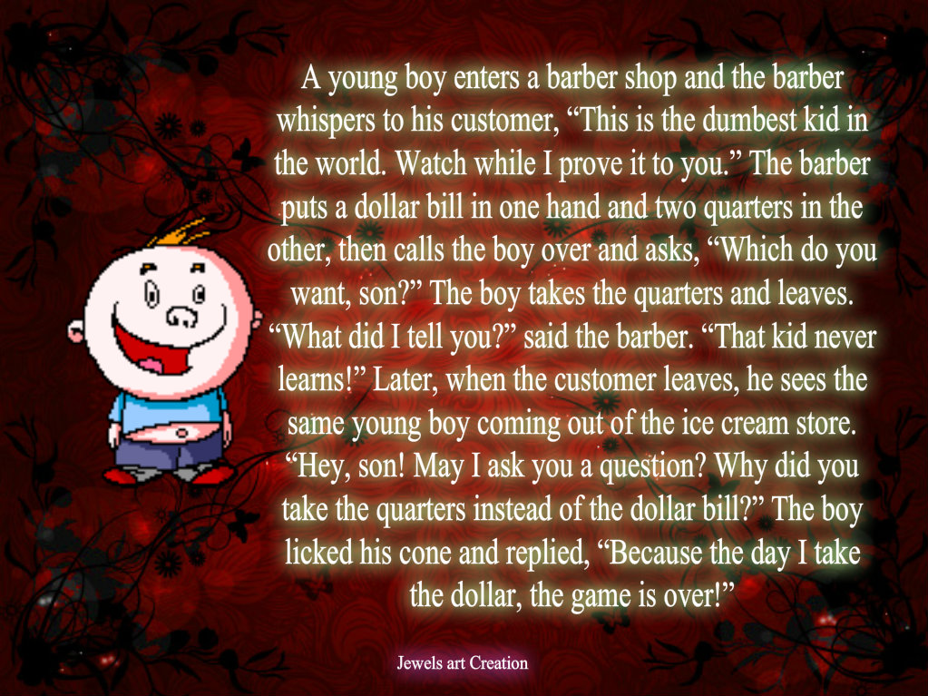 young boy enters a barber shop and the barber whispers to his ...