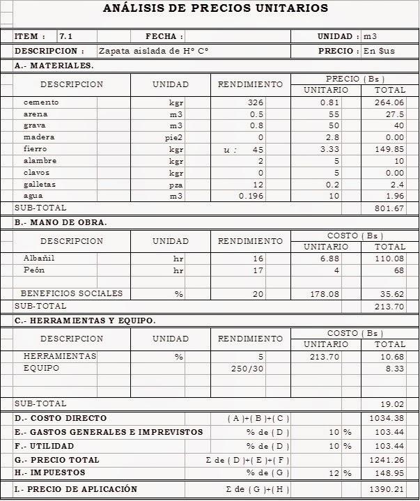 Construcci n de edificios analisis de precios unitarios - Precios de ladrillos para construccion ...