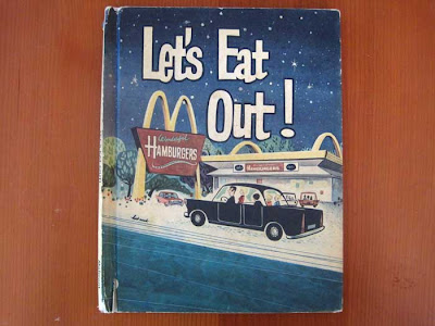 Cover of Let's Eat Out! with 1965-era McDonald's building ad black sedan car full of a family
