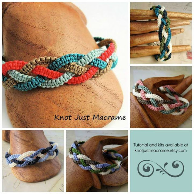 Braids micro macrame bracelet tutorial and colorways