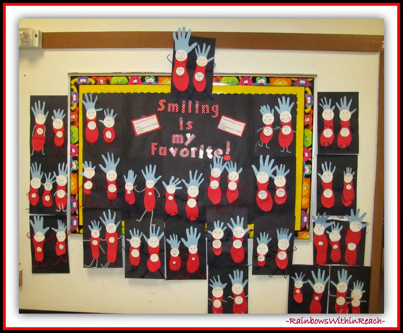 "Dr. Seuss Bulletin Board for ""Things"" from Handprints via RainbowsWithinReach"