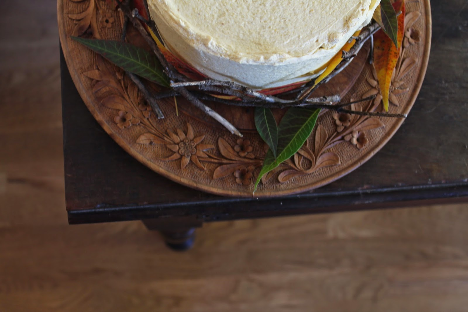 chocolate cake with pumpkin frosting