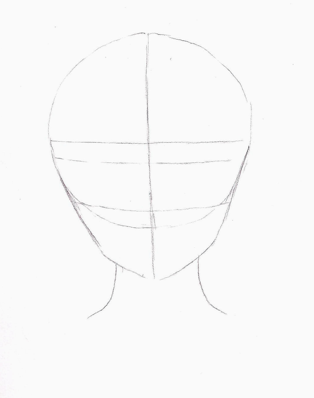 Ive drawn a circle for the head and drawn a jaw underneath im using a 2b pencil to draw my sketch it takes a couple of tries to get it right