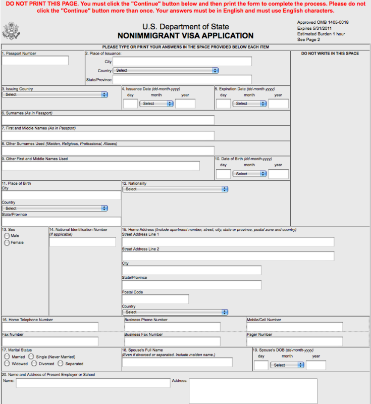 Form Ds 160 Ds 160 Form Sample Cvsampleform Com Ds 160 Application ...