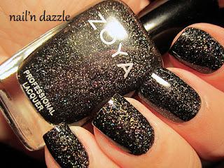 zoya, black, ornate, storm, holographic, holo, glitter