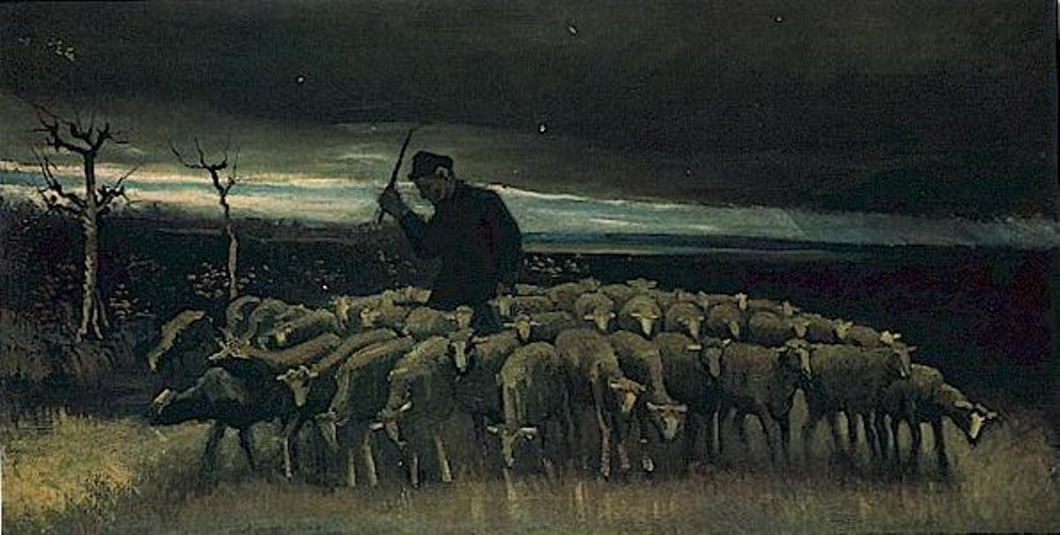 Shepherd with a Flock of Sheep by Vincent van Gogh