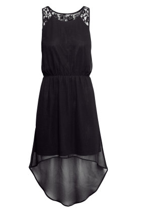 Black hi-lo maxi dress from H&M with lace detail