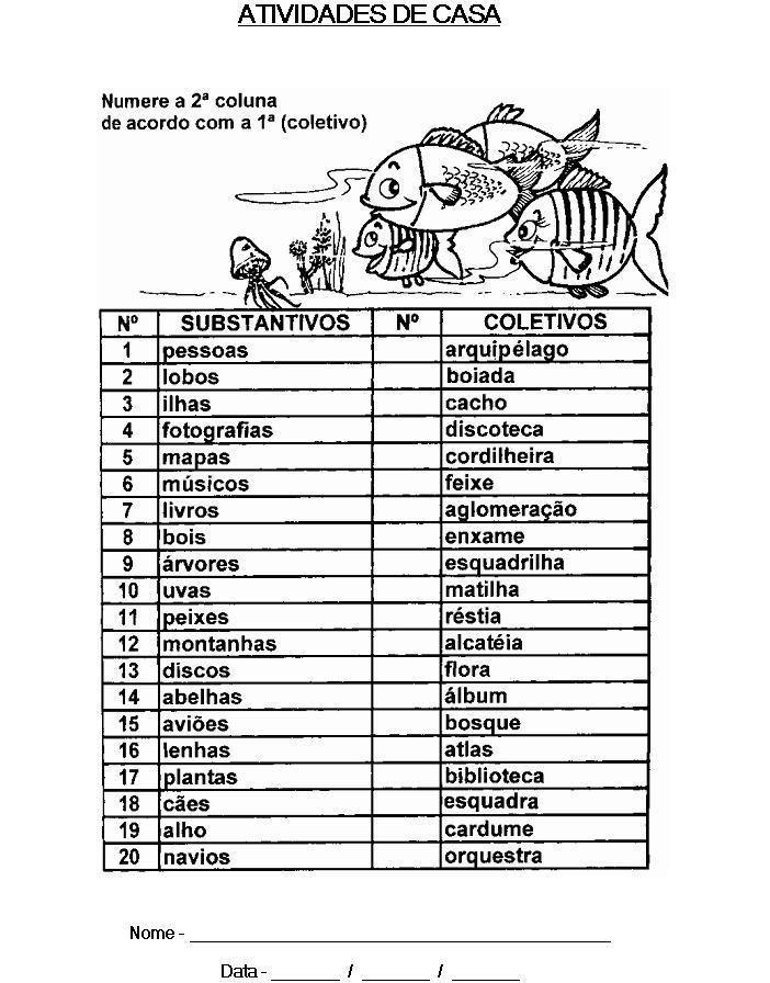 Lista de substantivos proprios e comuns