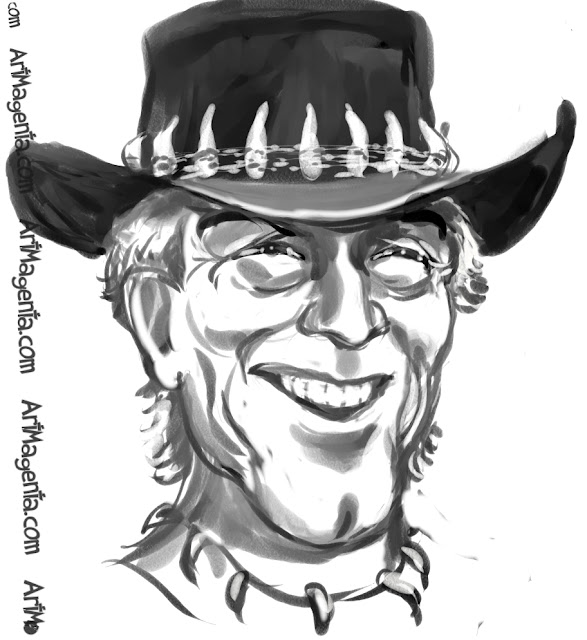 Paul Hogan as Crocodile Dundee caricature cartoon. Portrait drawing by caricaturist Artmagenta.