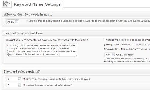 CommentLuv Premium keyword name
