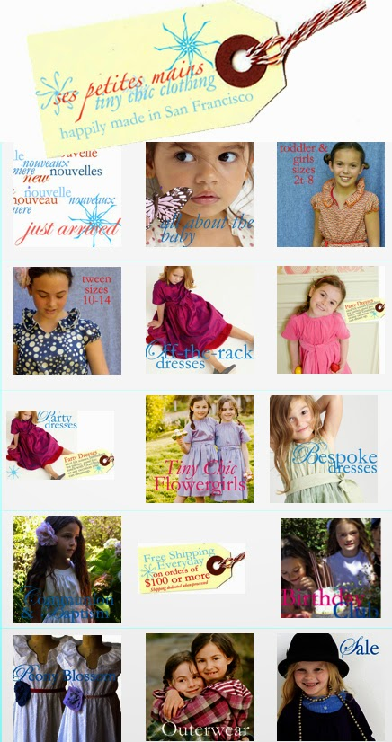 Girl's 'go-anywhere & everywhere' stylish modern and elegant clothing; party dresses, flower girl dresses, jr. bridesmaid dresses & special occasion dresses for the Tiny Chic Customer. Sizes Baby, Toddler, 2T to 8, Tween and Teen. Happily made in San Francisco since 2006.