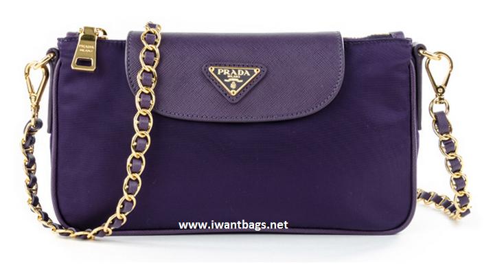 Prada Nylon Tessuto Saffiano Clutch Sling Bag BT0779- Uva