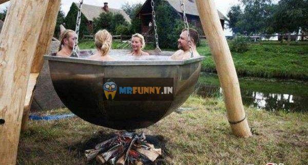 Hot Bath Of Funny Family