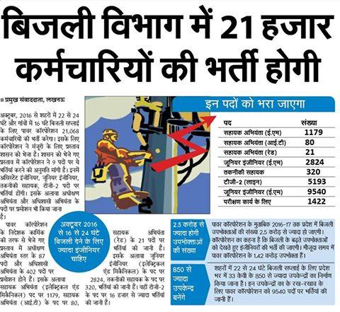 उप्र  बिजली विभाग में 21 हजार कर्मचारियों की भर्ती